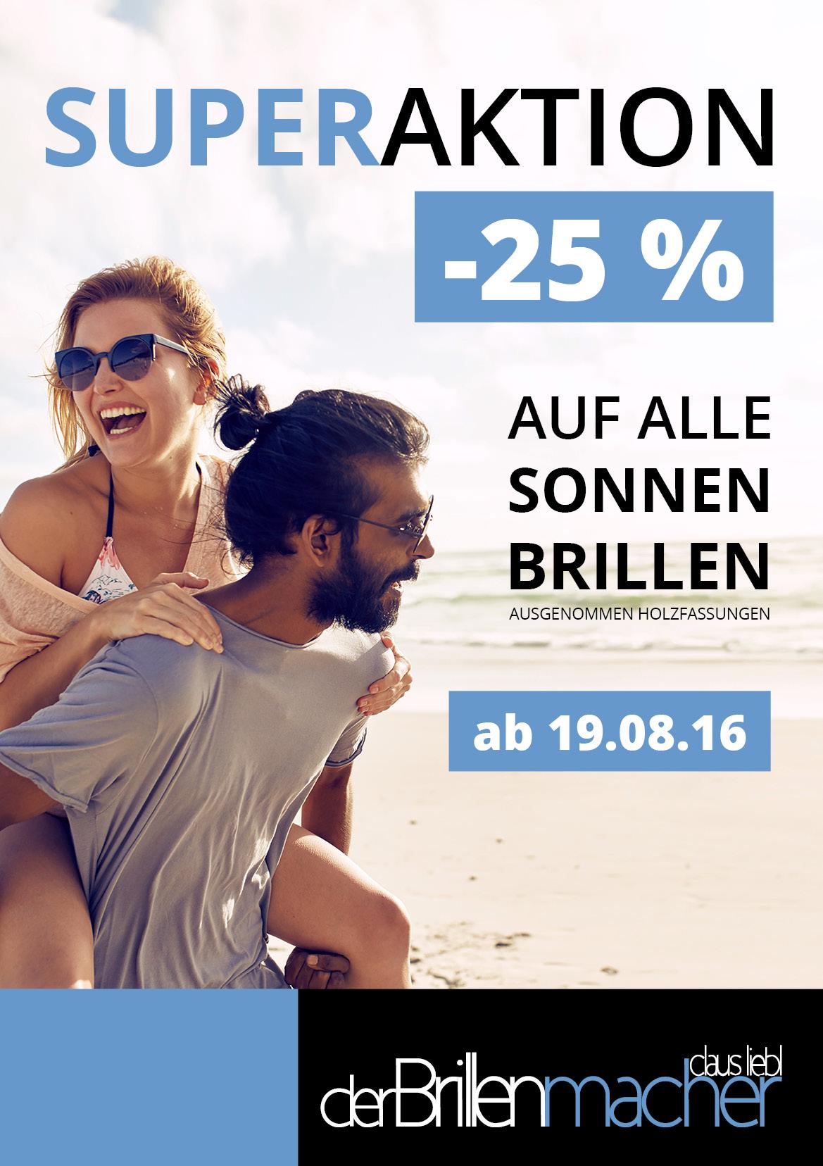 -25 % Rabatt auf alle Sonnenbrillen beim Brillenmacher in Waging